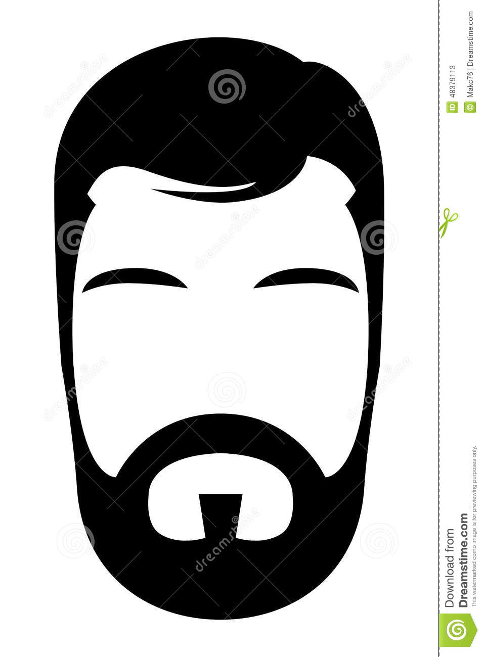 bearded man illustration stock vector image of