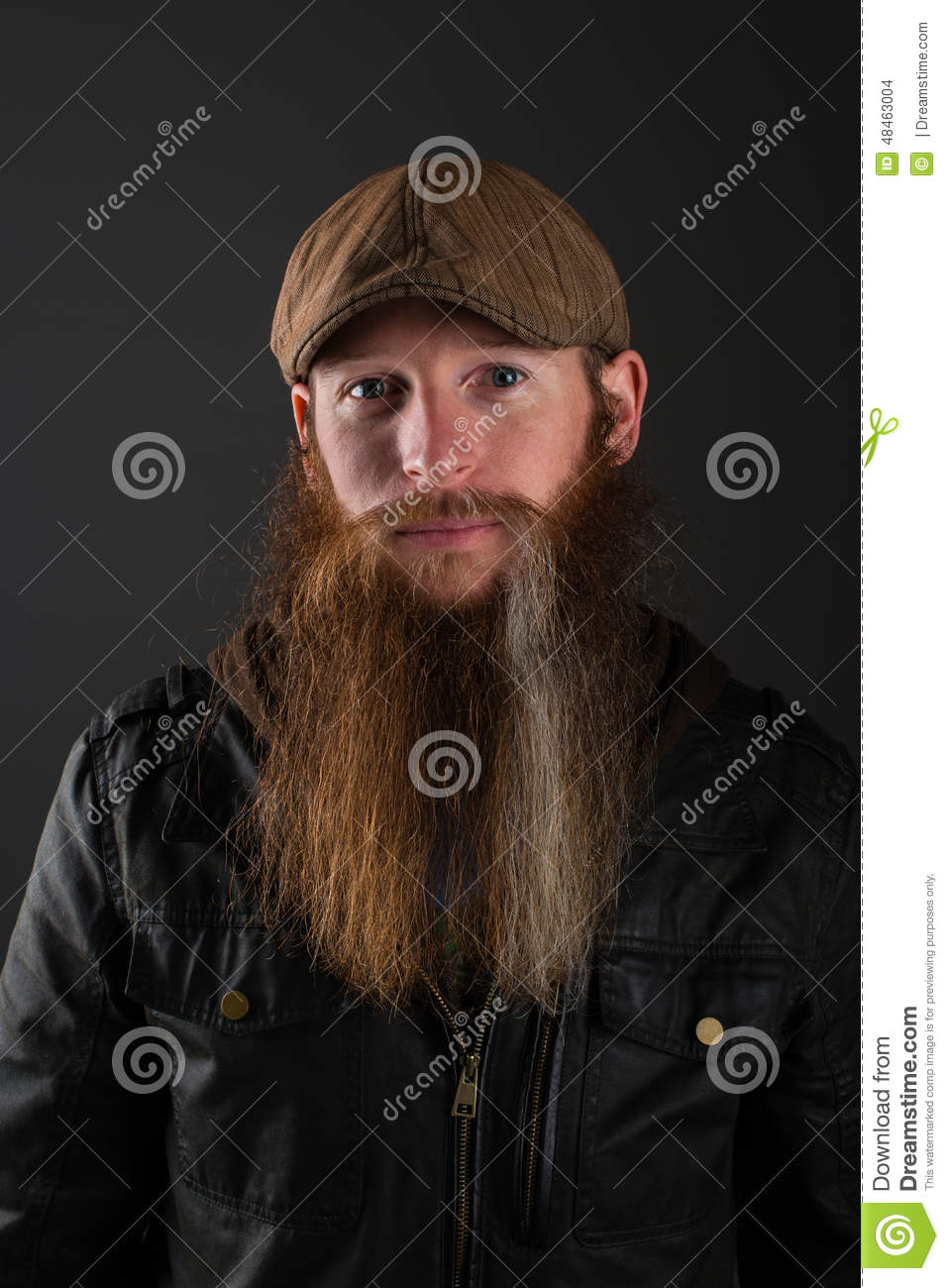 Bearded Man With Leather Jacket And Cap. Stock Photo - Image of ... a6d7dc5939e