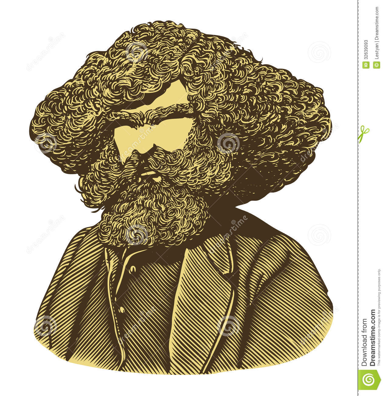 Classic Retro Illustration: Bearded Man With Long Hair In Vintage Engraved Style Stock