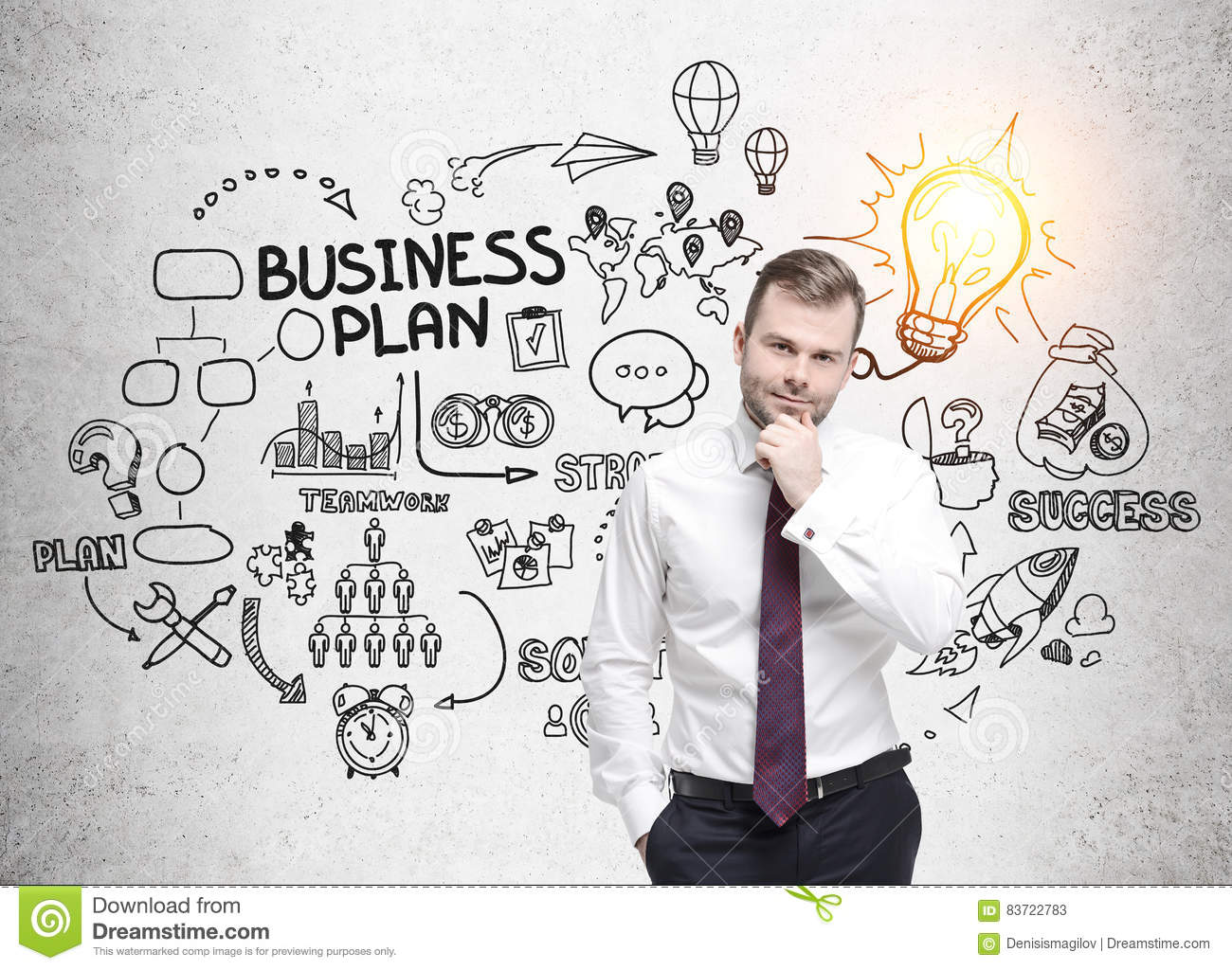 Bearded Man With Red Tie And Business Plan Sketch Stock Photo