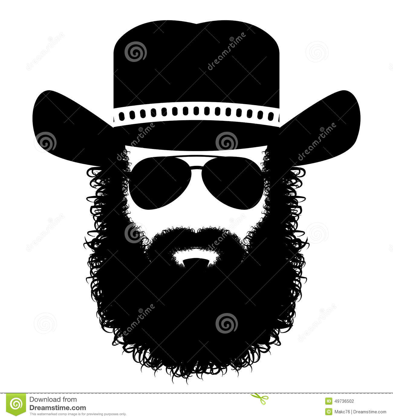bearded man silhouette stock vector image 49736502