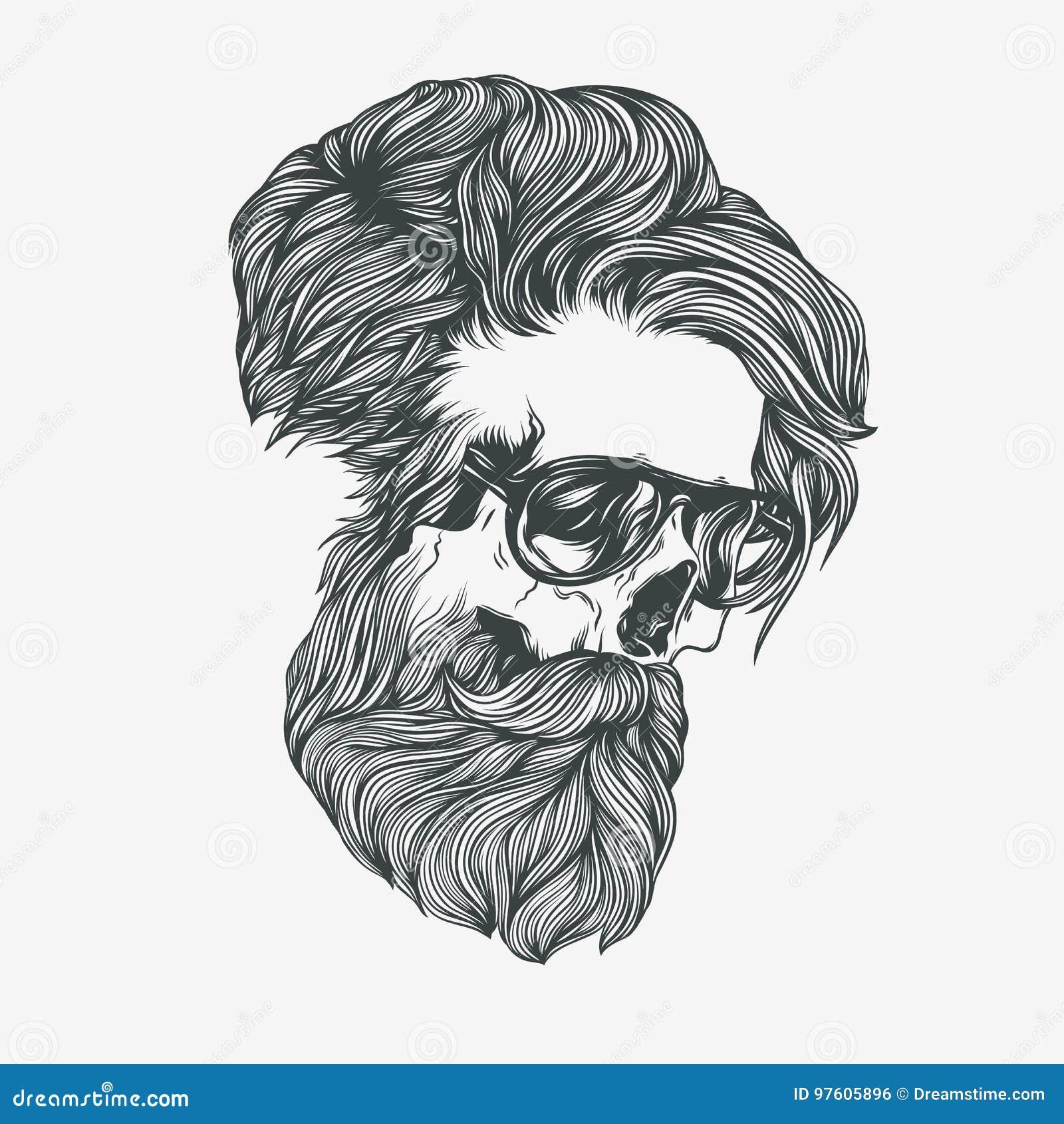 Bearded Skull Illustration Cartoon Vector Cartoondealer