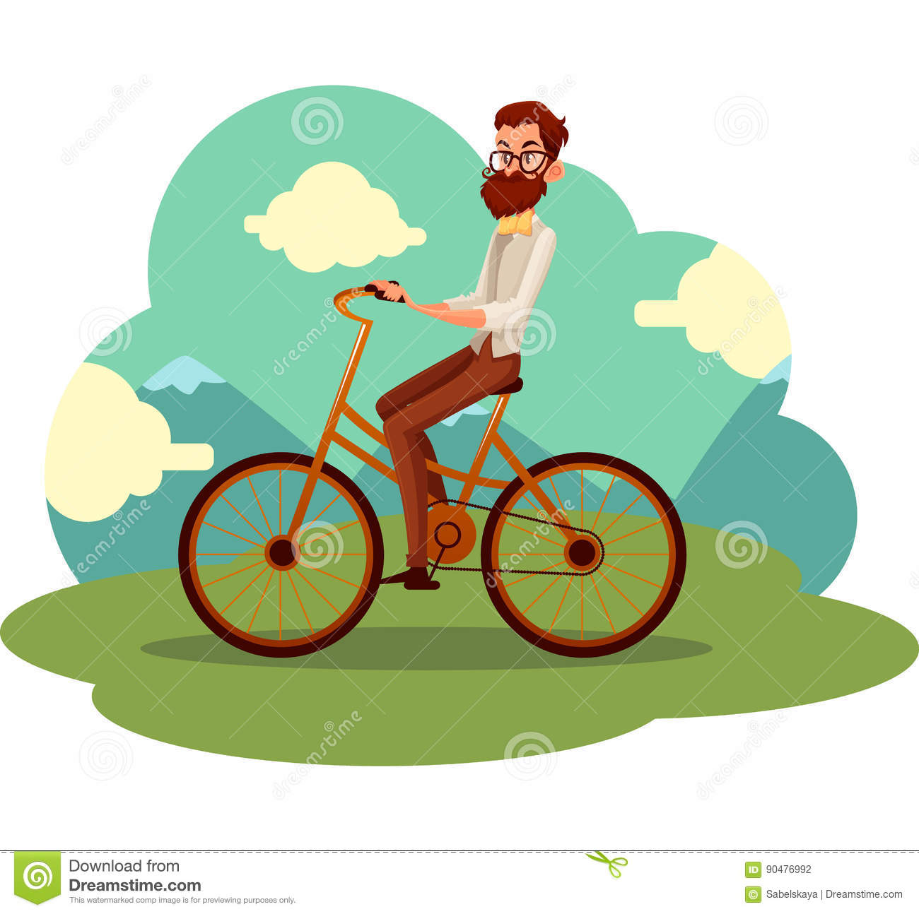 5dc36eabe1f9 Bearded man in vest and bow tie riding a bicycle, cycling, cartoon vector  illustration. Full length, side view portrait of bearded man, scientist  riding a ...