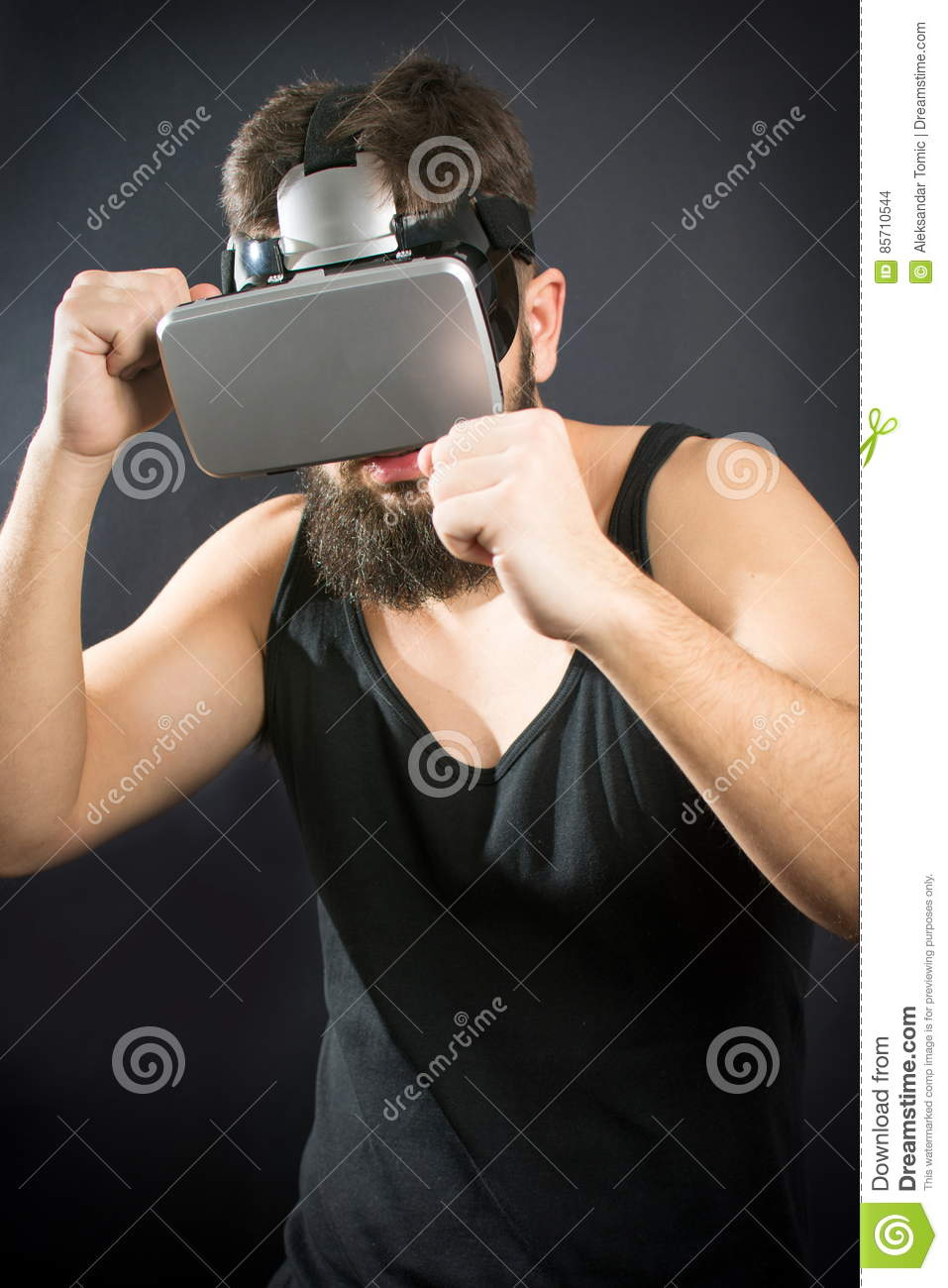 Bearded Man With VR Glasses In Boxing Guard Stock Photo - Image of