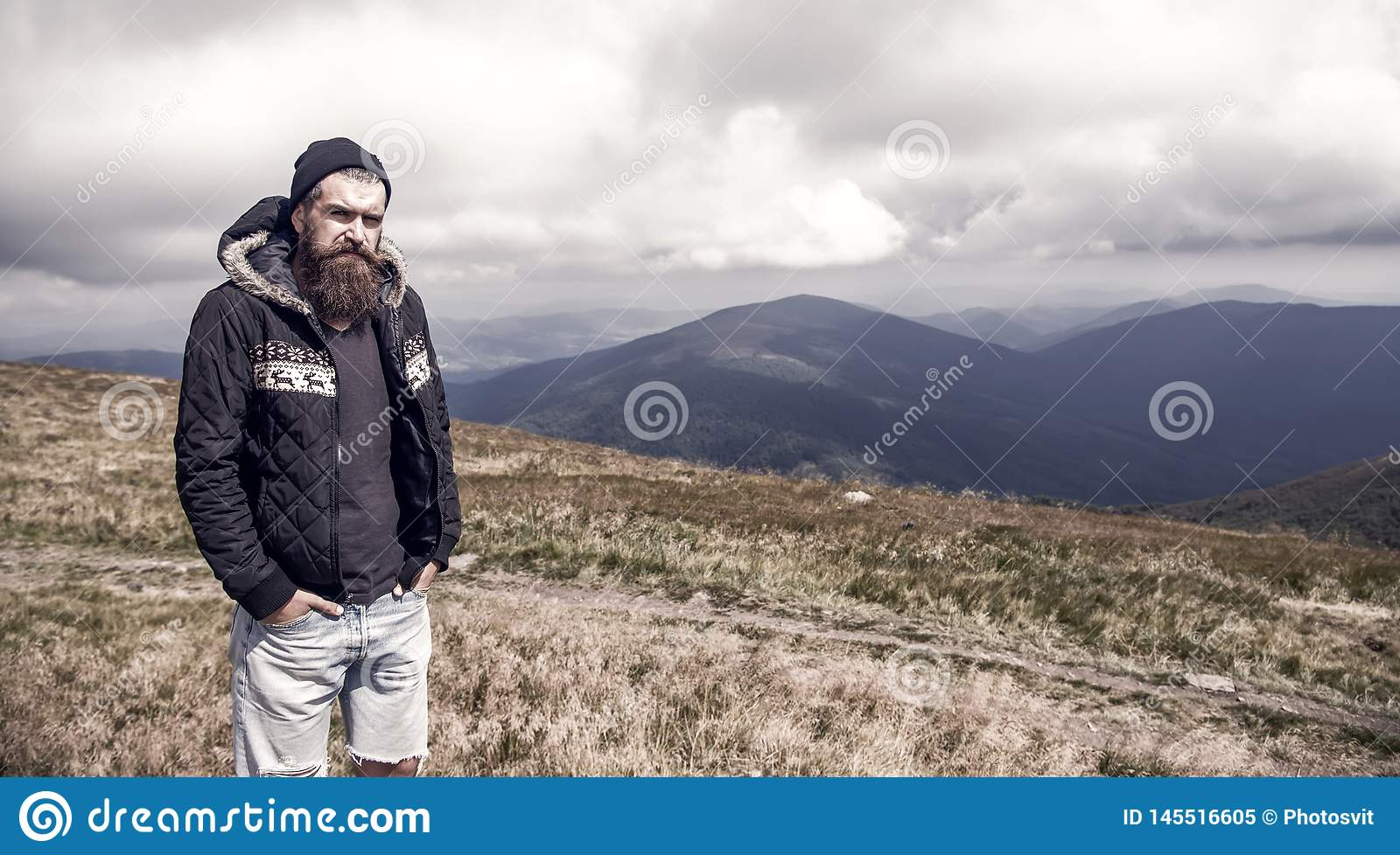 Sensational Bearded Man On Windy Mountain Top On Natural Cloudy Sky Stock Schematic Wiring Diagrams Amerangerunnerswayorg