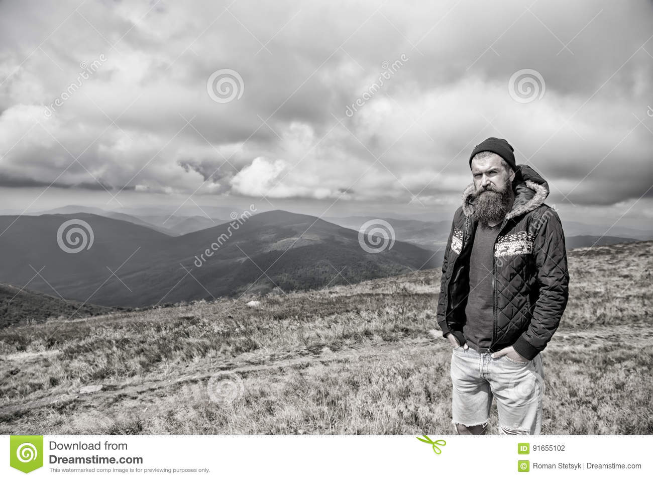 Magnificent Bearded Man On Windy Mountain Top On Natural Cloudy Sky Stock Schematic Wiring Diagrams Amerangerunnerswayorg