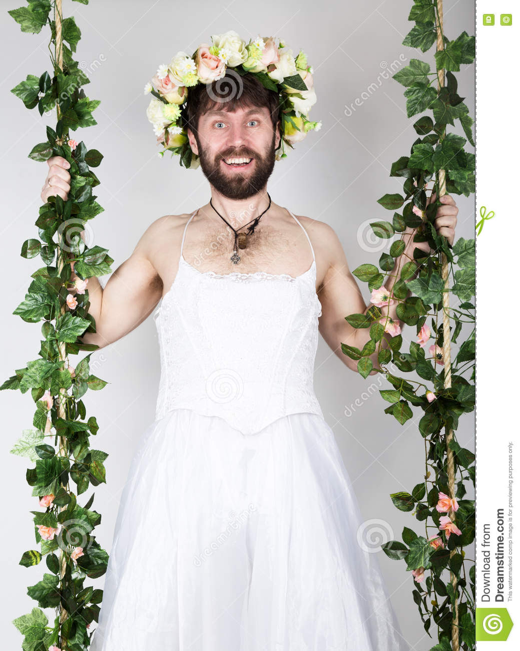 Bearded Man In A Woman\'s Wedding Dress On Her Naked Body, Clinging ...