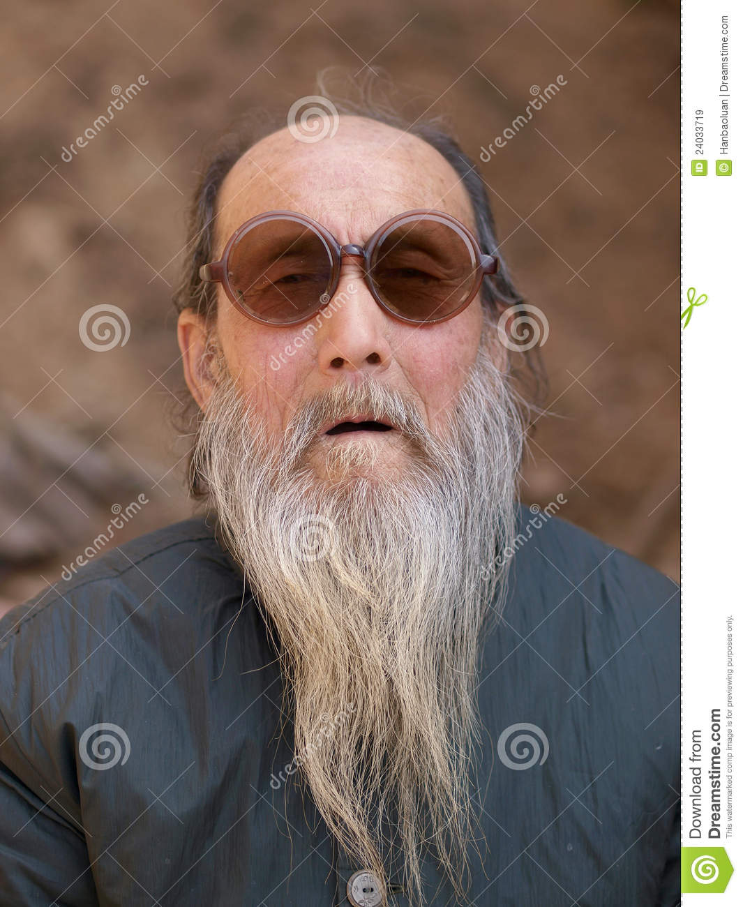 image Old bearded man in a suit getting head in a helicopter