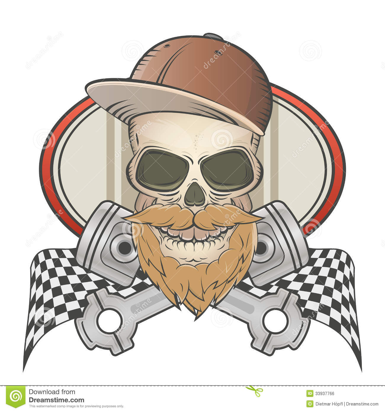 Illustration of bearded racing skull with crossed pistons.