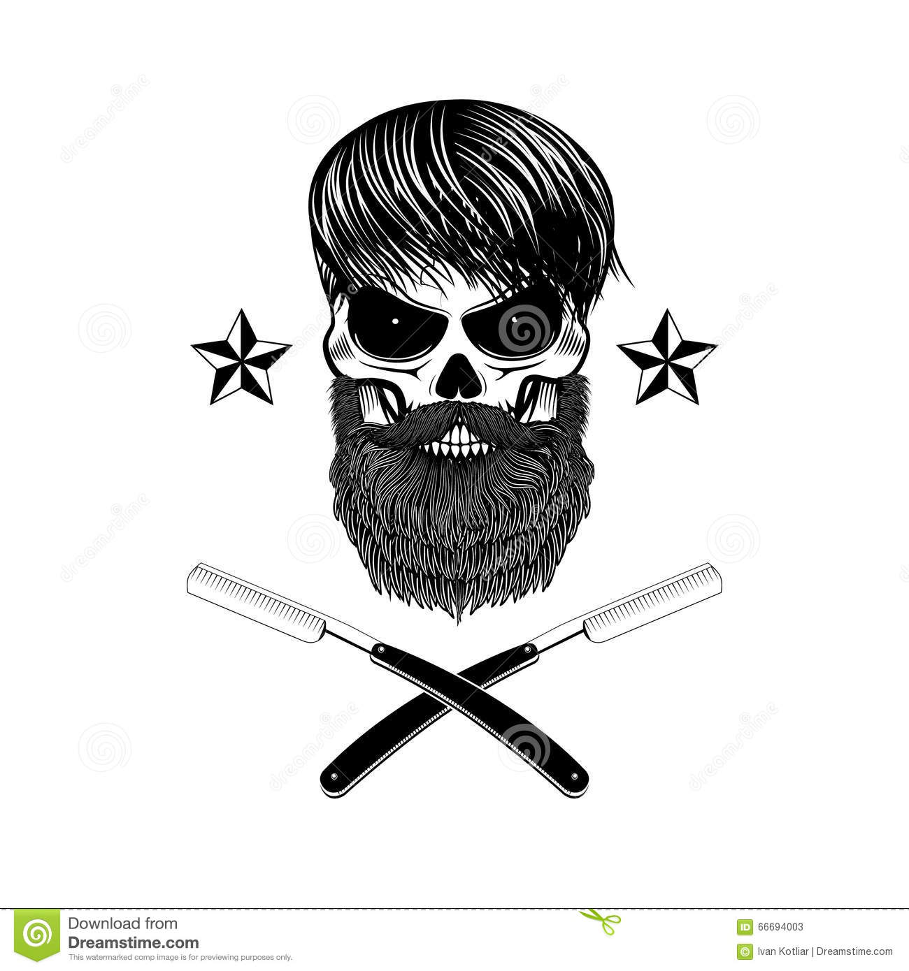 bearded skull with blades stock vector image 66694003