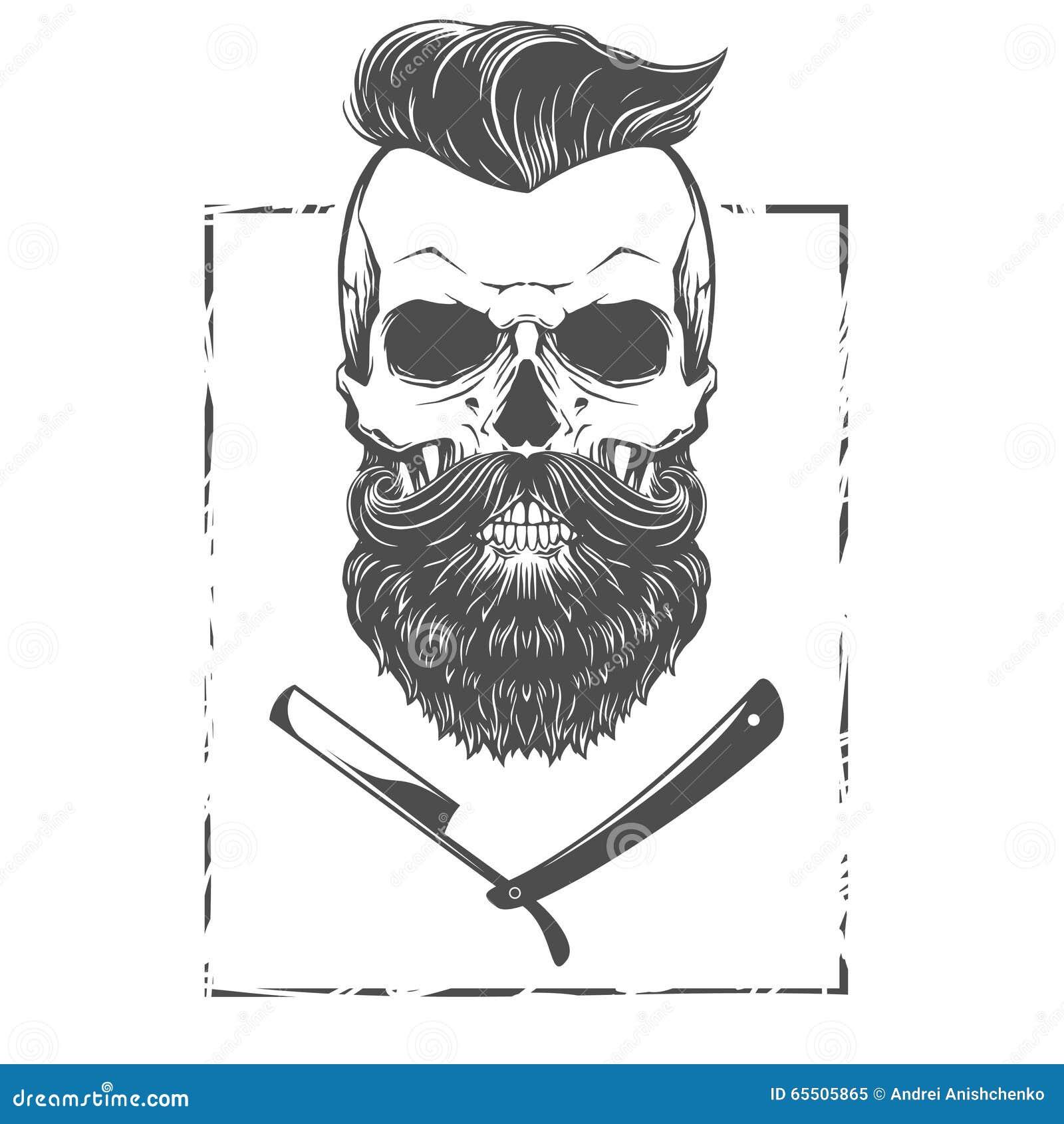 Bearded Skull Illustration Cartoon Vector | CartoonDealer ...