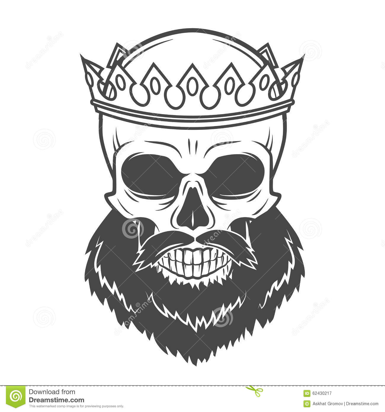 Bearded Skull King With Crown. Vintage Cruel Stock Image
