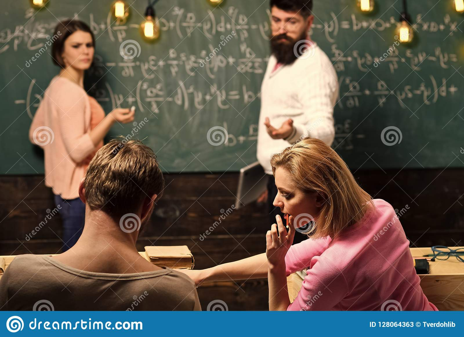 Bearded Teacher, Lecturer, Professor Watching Students