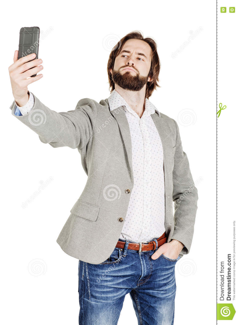 bearded young business man taking selfie smiling. portrait isolated over white studio background.