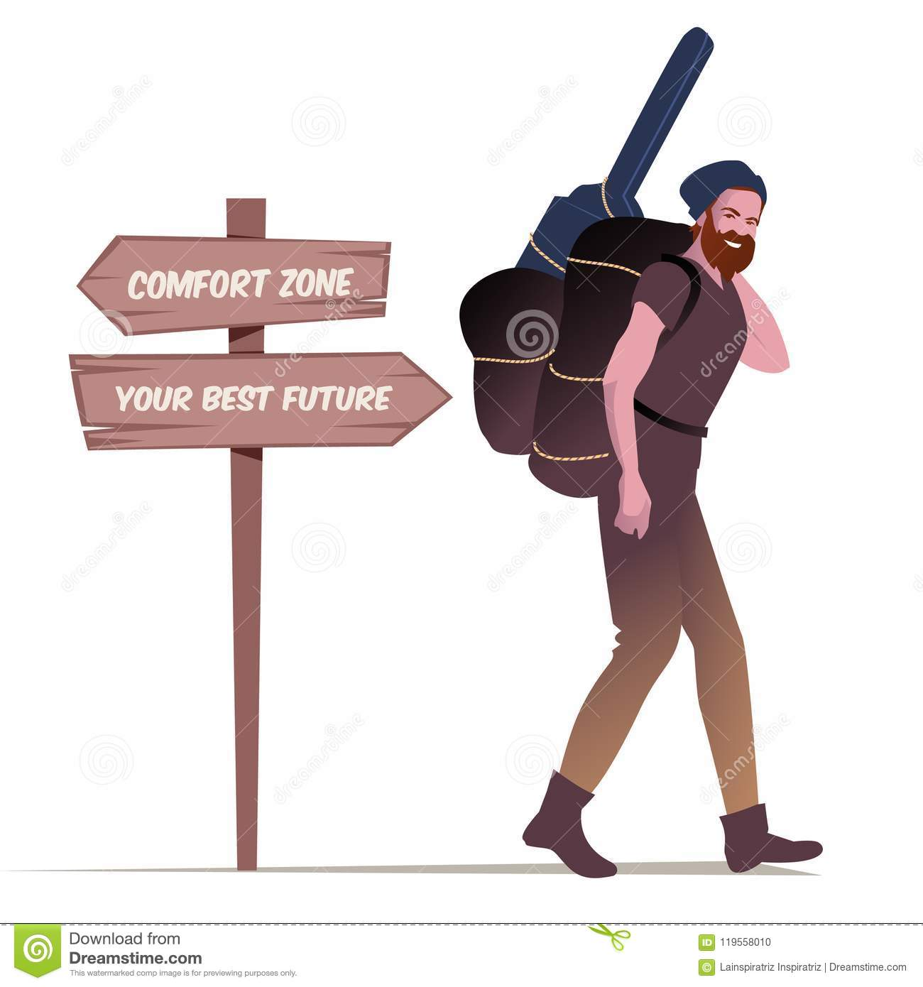 Bearded Young Man With Hat Carrying Backpack And Guitar