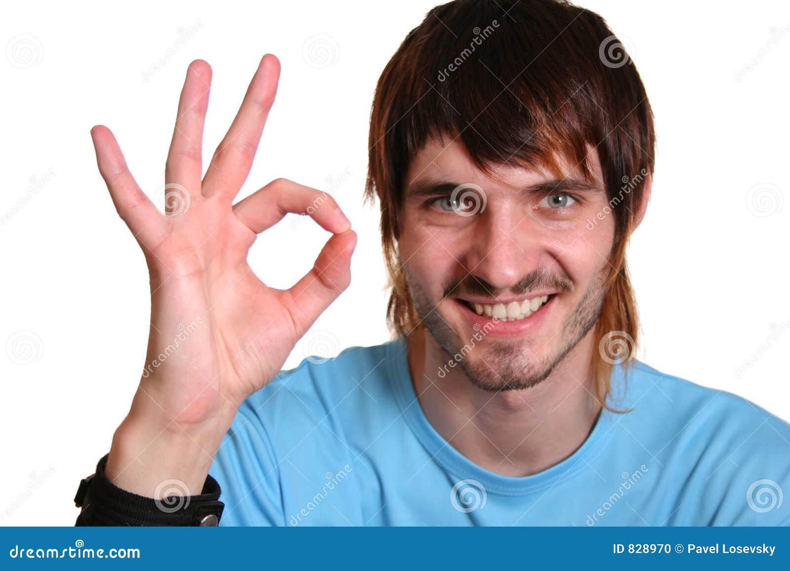 Download Beardman with ok sign stock photo. Image of okay, concept - 828970