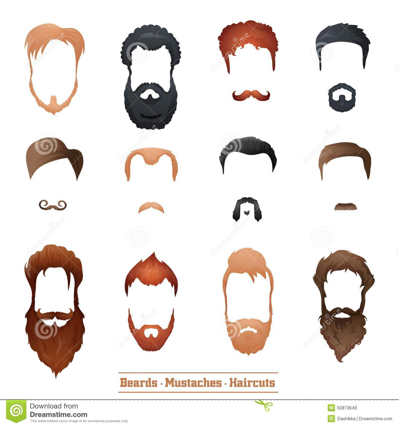 Beards And Mustaches Hairstyles Stock Vector Image