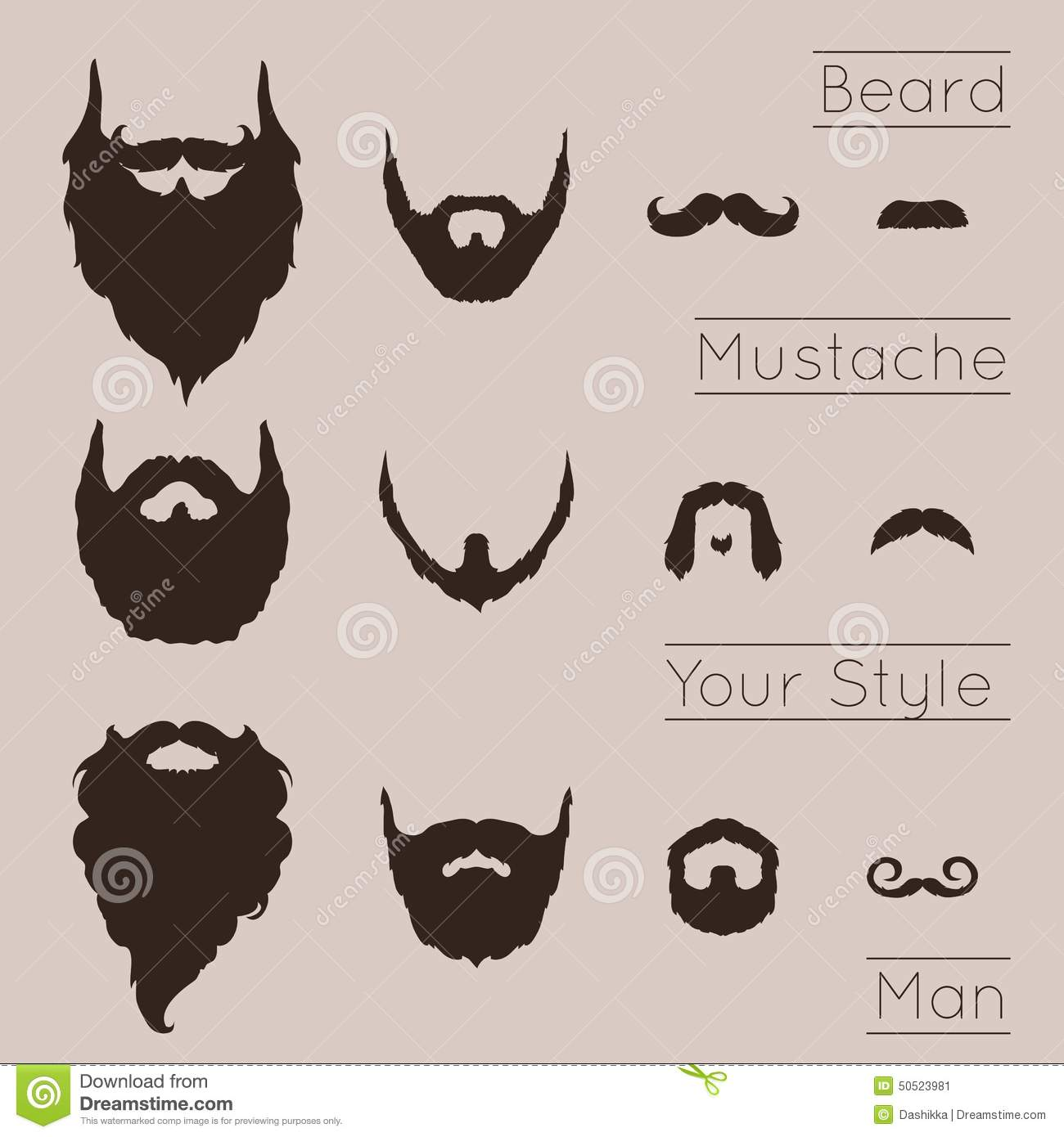 beards and mustaches set stock vector image of human