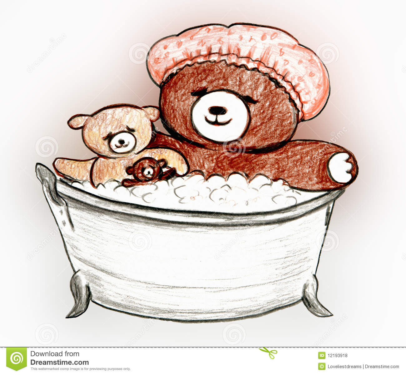 Bears Bubble Bath Stock Illustration Image Of Clip
