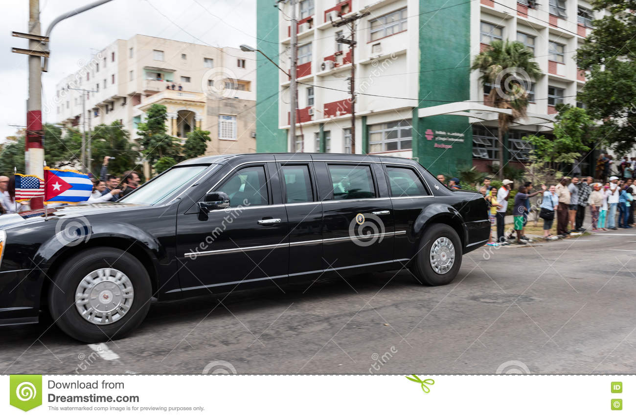 The Beast Us Presidential State Car In Havana Cuba Editorial