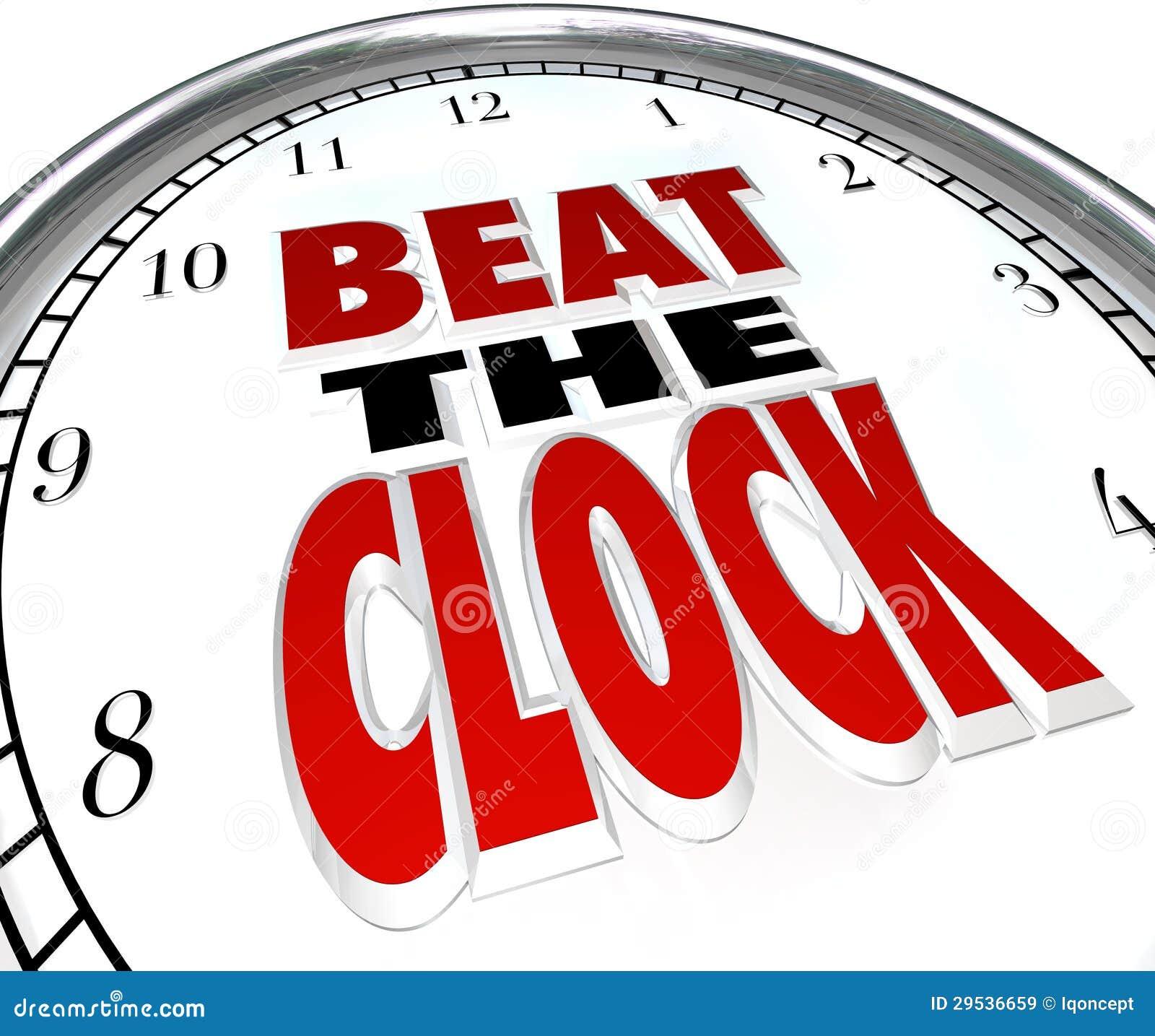 Beat The Clock Words Deadline Countdown Stock Illustration