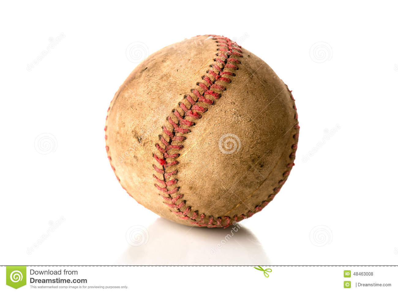 A beat-up, old baseball on white