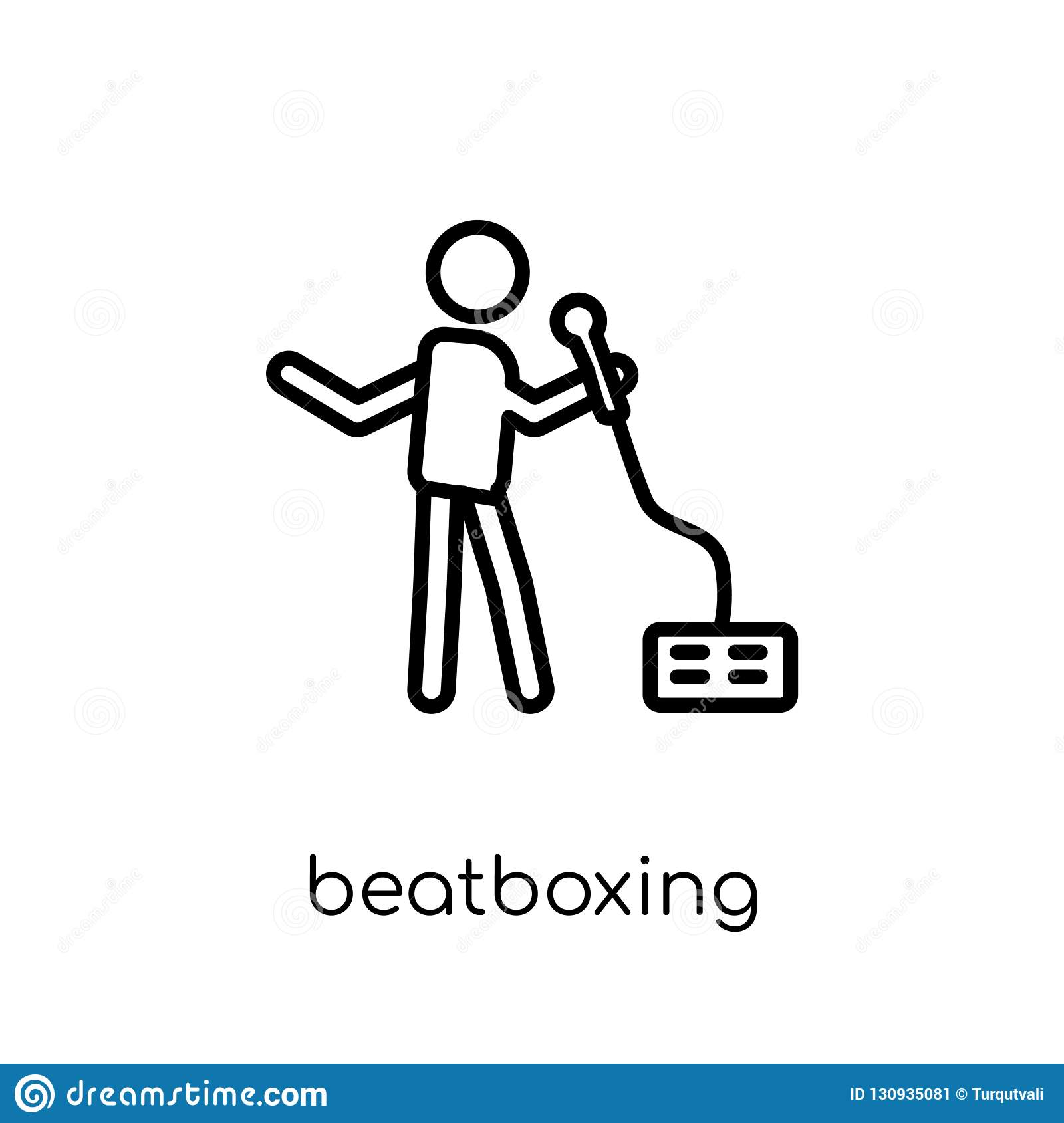 Beatboxing icon. Trendy modern flat linear vector Beatboxing icon on white background from thin line Activity and Hobbies collect