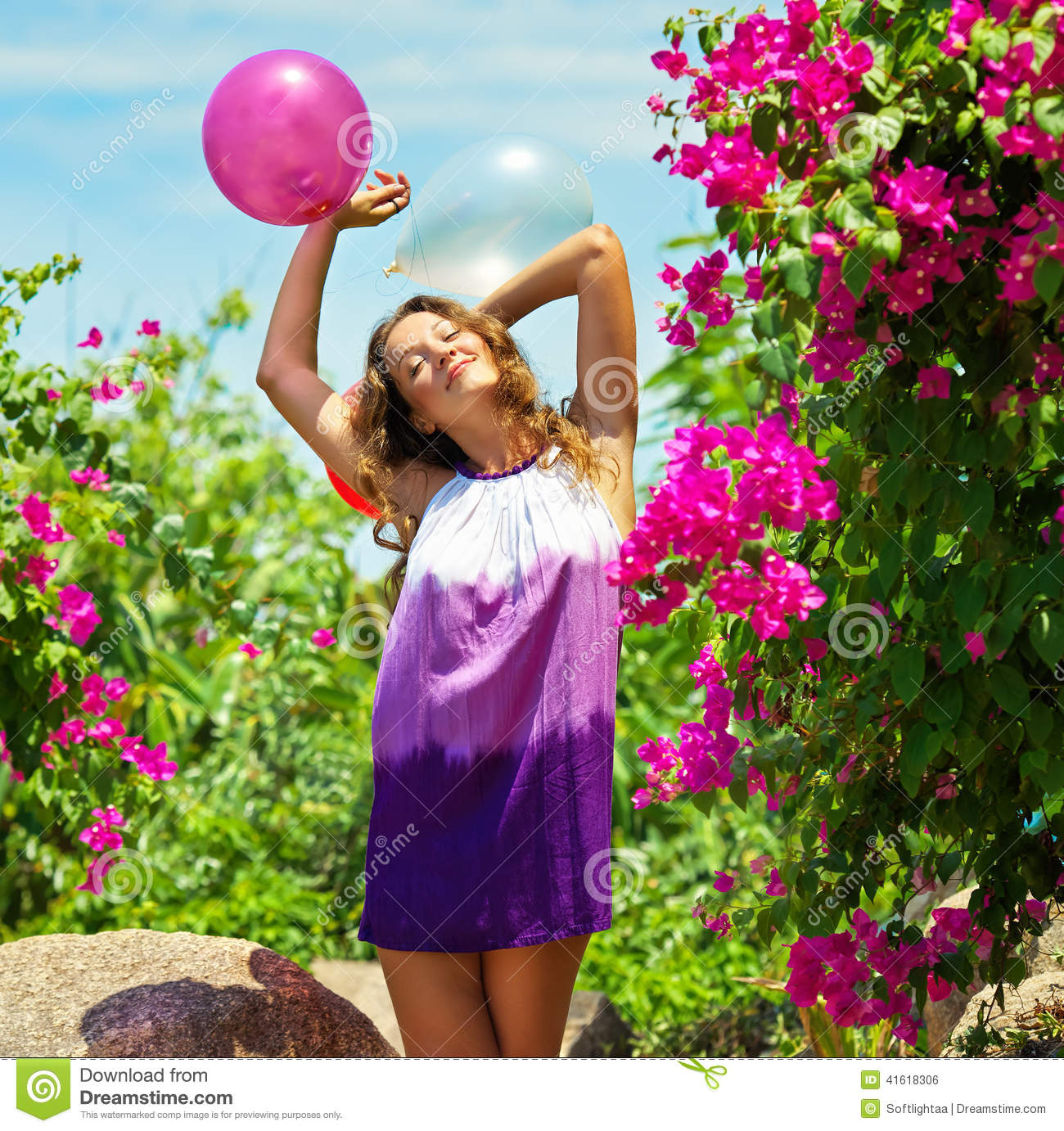 Beatiful Happy Young Woman Outdoor.