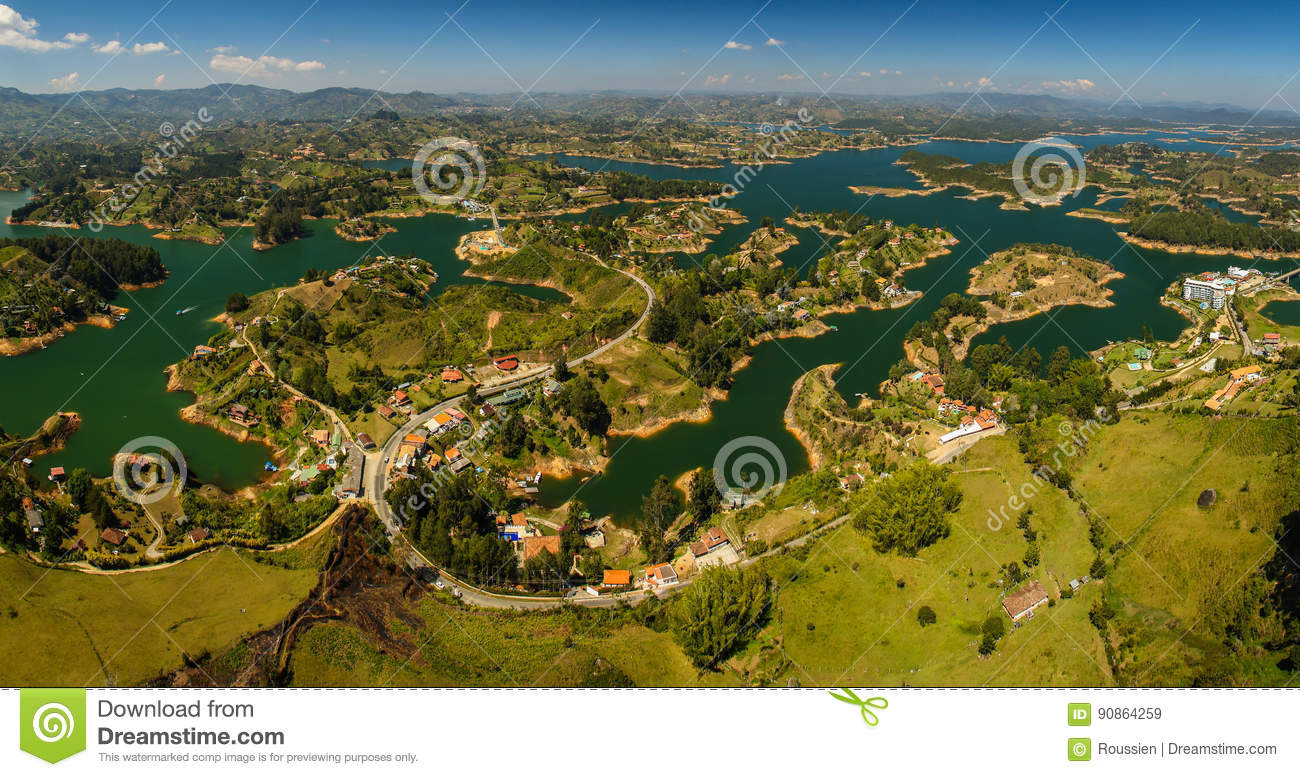 Beatiful landscape around the town of Guatape, Colombia