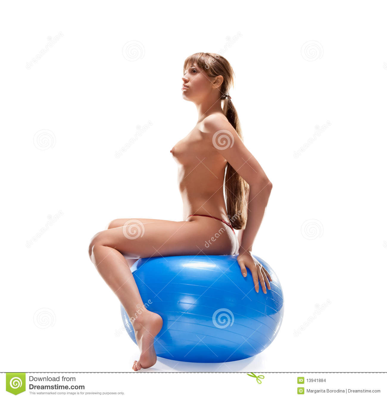 ball sitting on nude hitch women