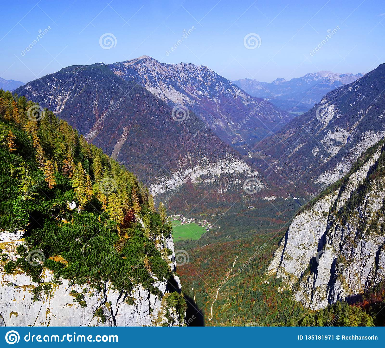 Scenic autumn landscape of the Austrian Alps from the Krippenstein Dachstein cable car.