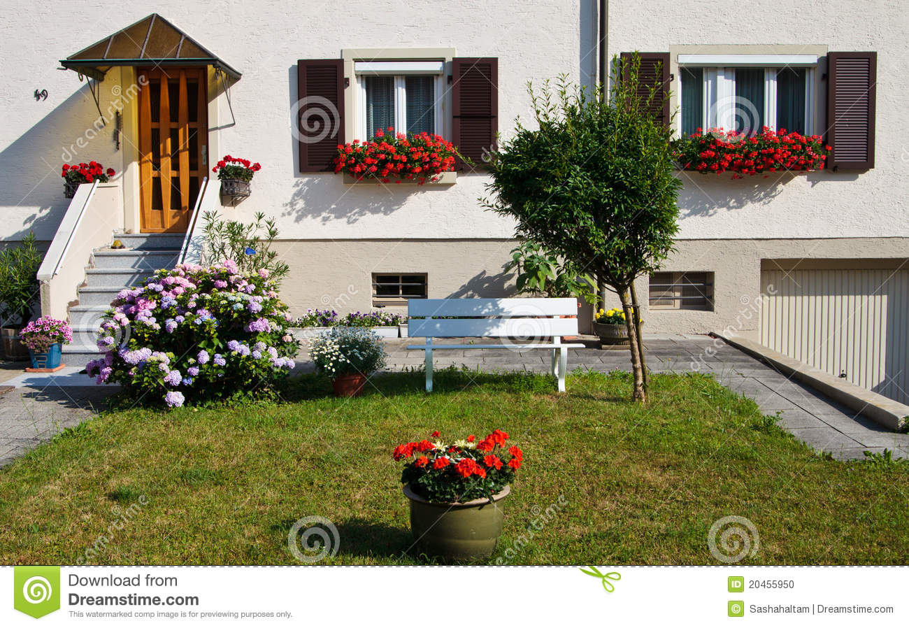 Beatiful yard with flowers in front of the house stock - Flowers in the front yard ...