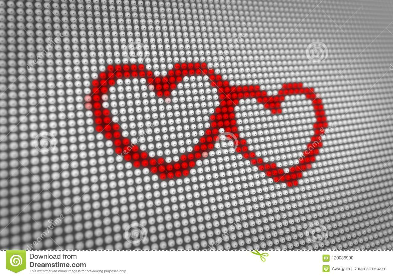 Beating Two Red Hearts On Big Led Display Stock Illustration