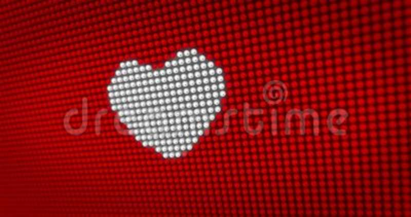 Beating White Heart On Big Led Display Stock Video Video Of
