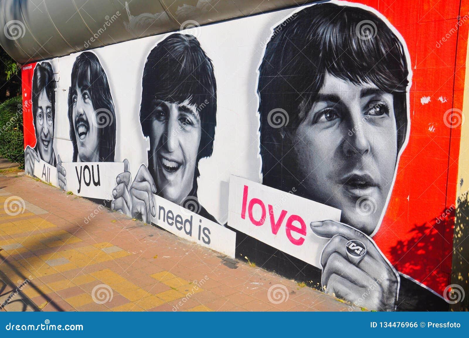 Beatles målning på en vägg