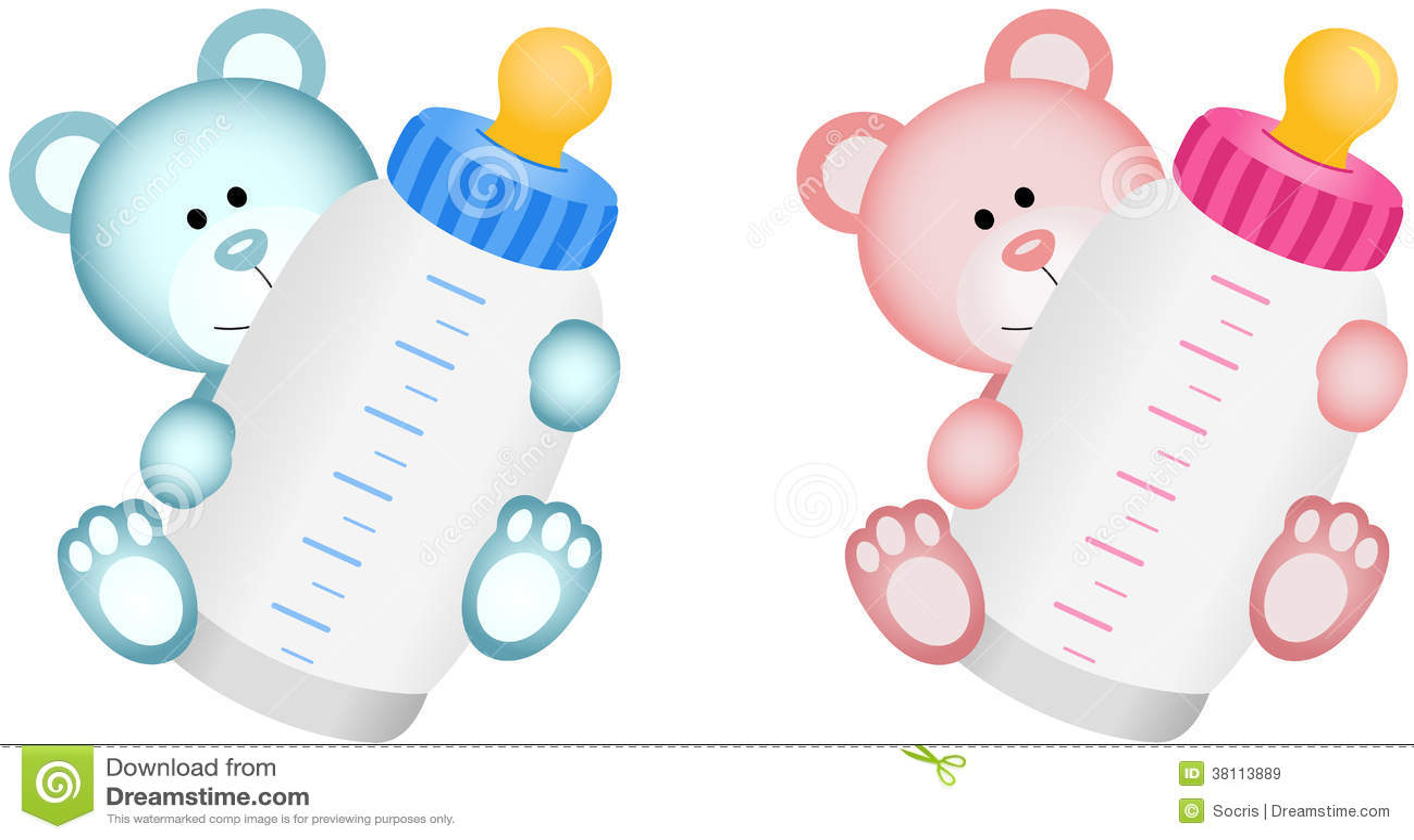 Beau b b teddy bear avec le biberon illustration de - Dessin de biberon ...
