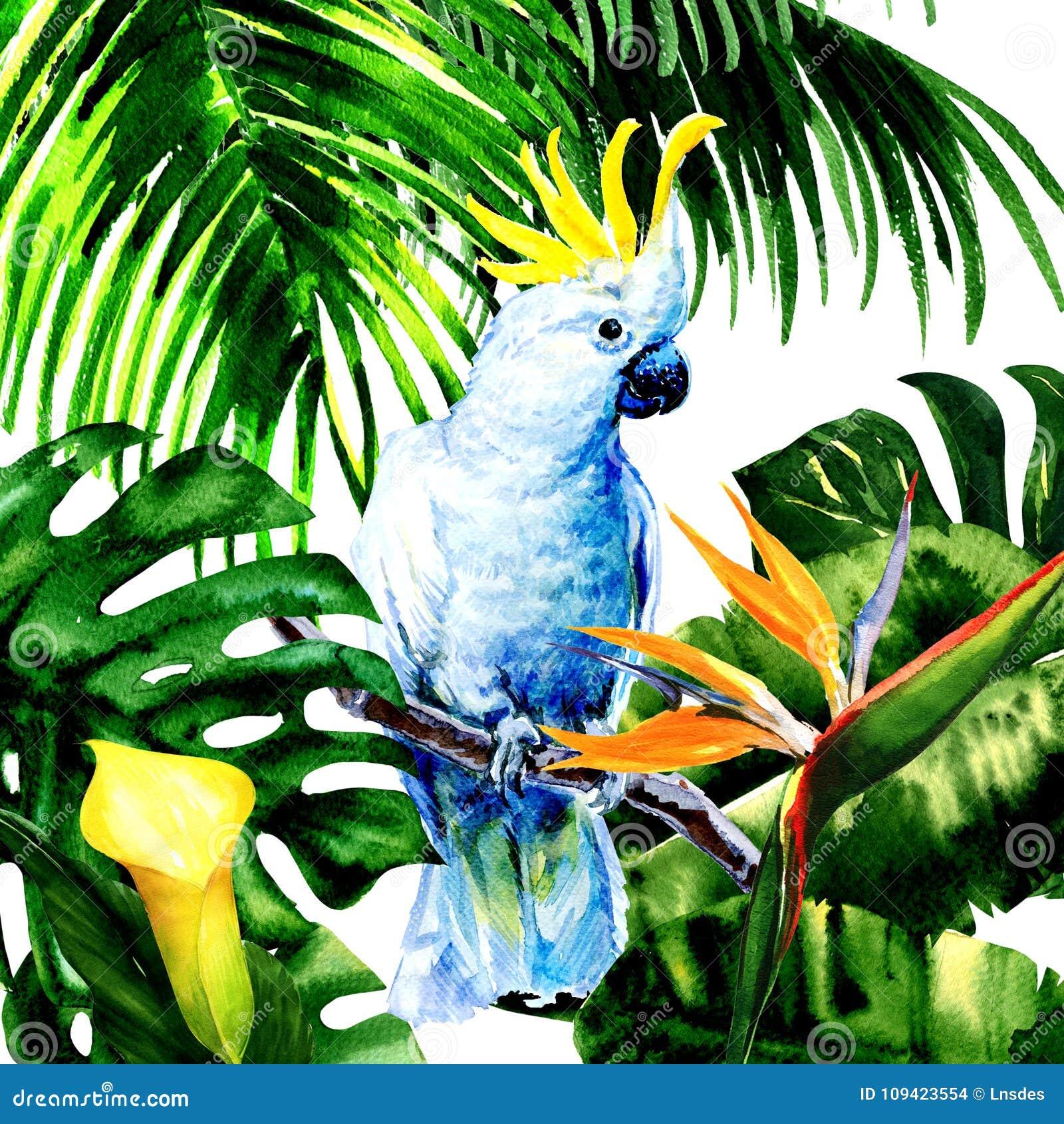 Beau cacatoès blanc, grand perroquet coloré dans la forêt tropicale de jungle, fleurs exotiques et feuilles, illustration d aquar