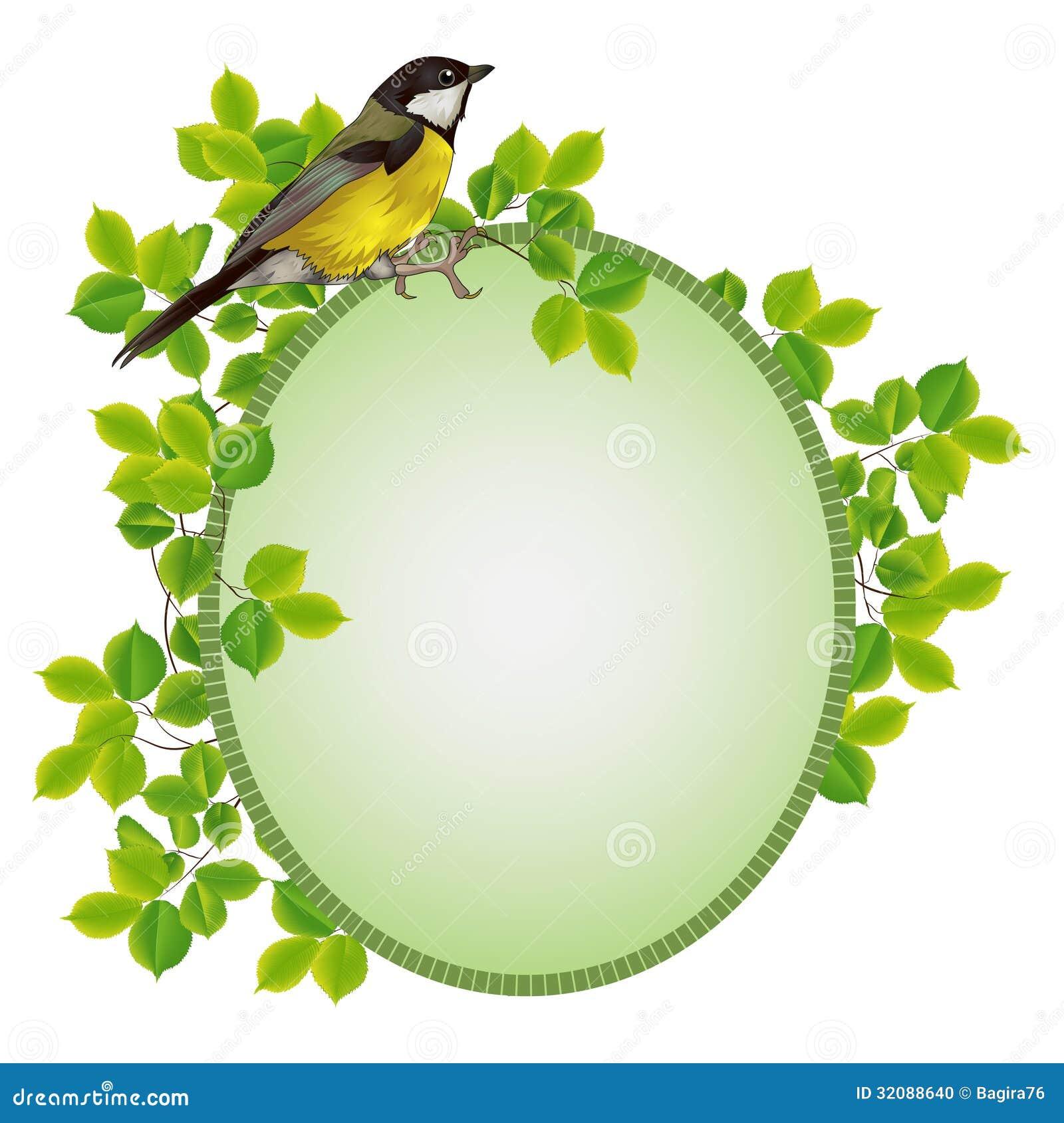 beau cadre dans un cadre de feuillage avec un oiseau photo stock image 32088640
