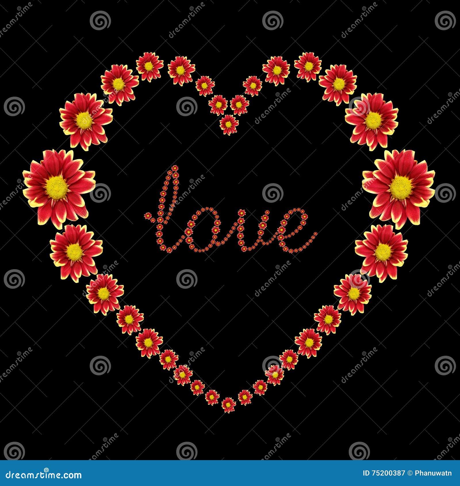 Beau coeur de fleur rouge et de texte d 39 amour d 39 isolement - Fleur au coeur noir ...