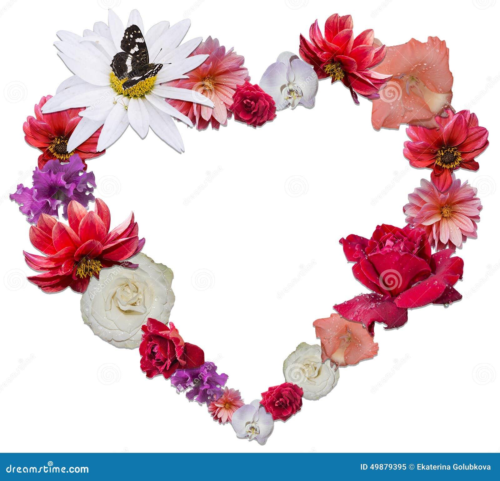 Beau Coeur Fait De Différentes Fleurs Comme Symbole De L