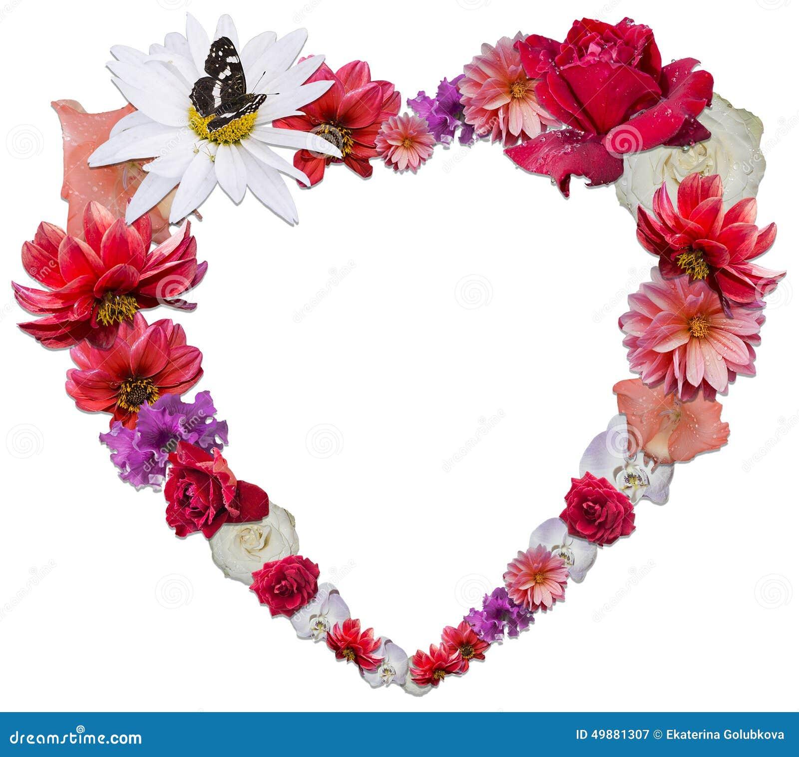beau coeur fait de diff rentes fleurs comme symbole de l 39 amour photo stock image 49881307. Black Bedroom Furniture Sets. Home Design Ideas
