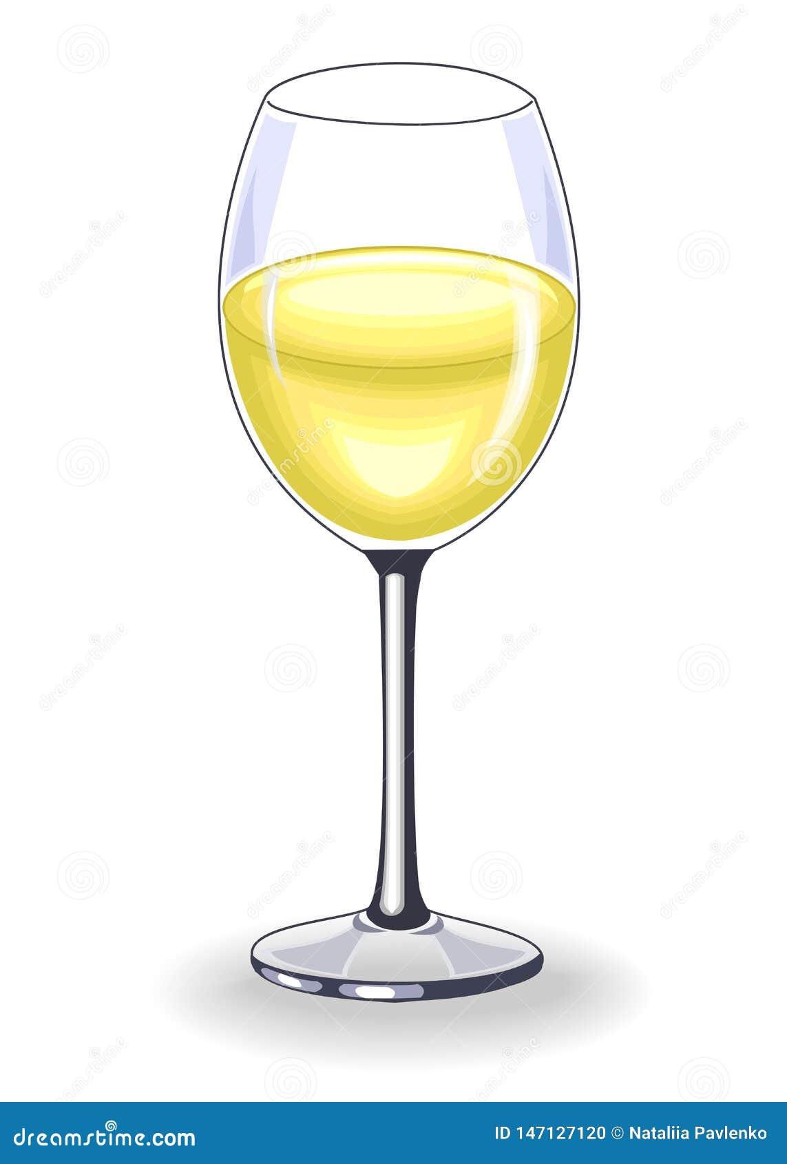 Beau cristal avec du vin blanc délicieux D?coration de la table de f?te Illustration de vecteur