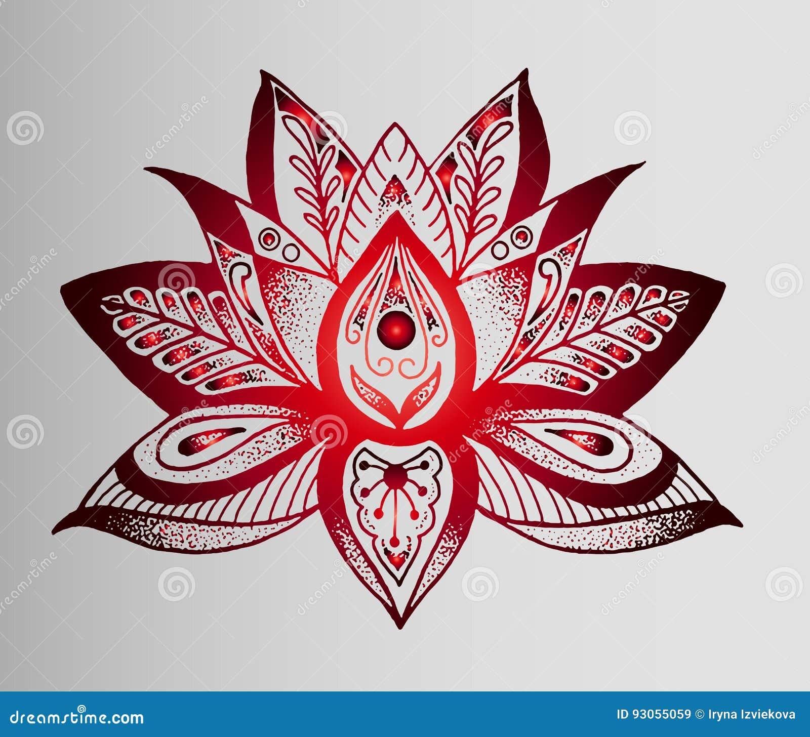 beau croquis indien de tatouage fleur de lotus rouge. Black Bedroom Furniture Sets. Home Design Ideas