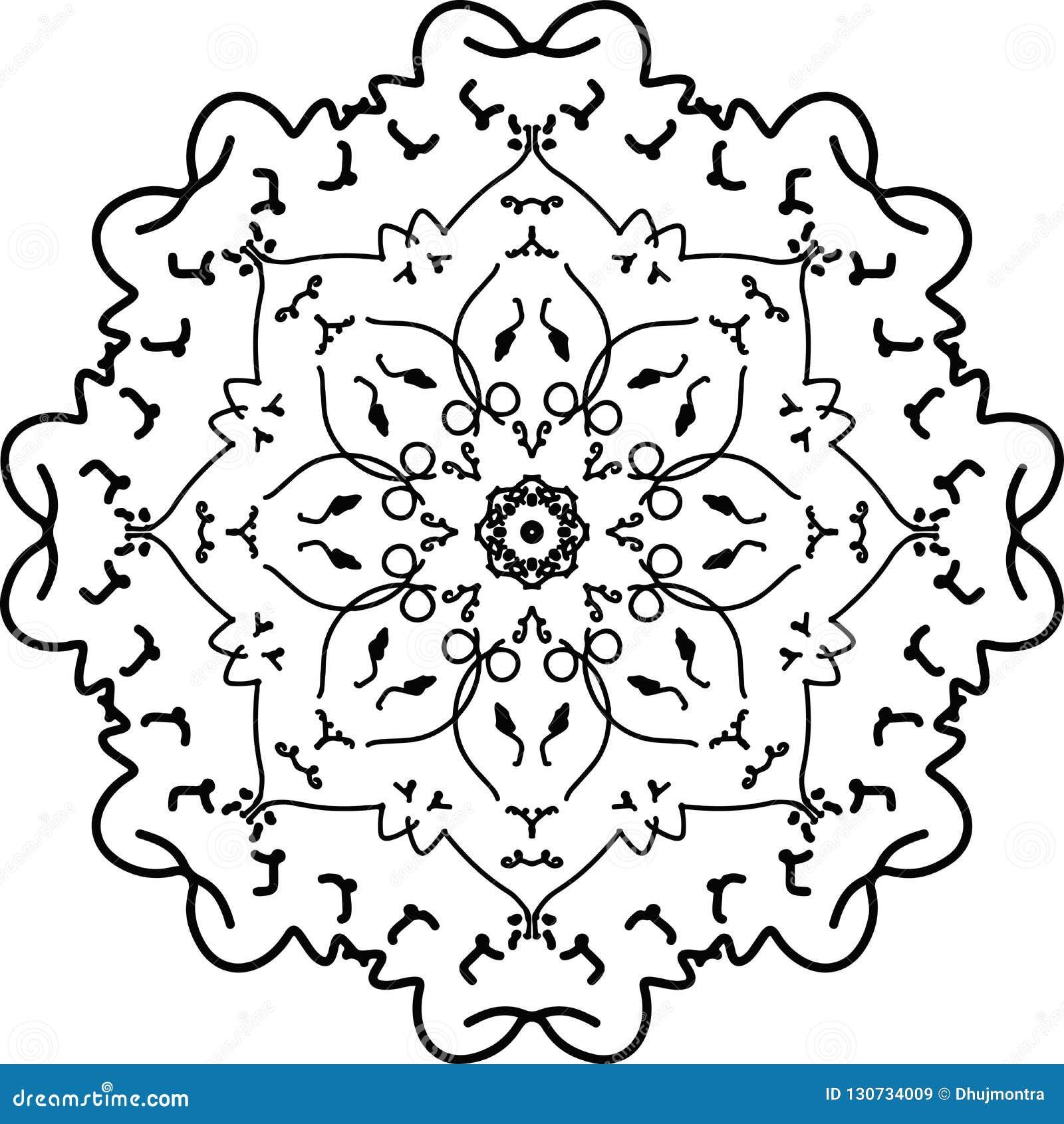 Beau Dessin De Mandala De Fleur En Noir Et Blanc