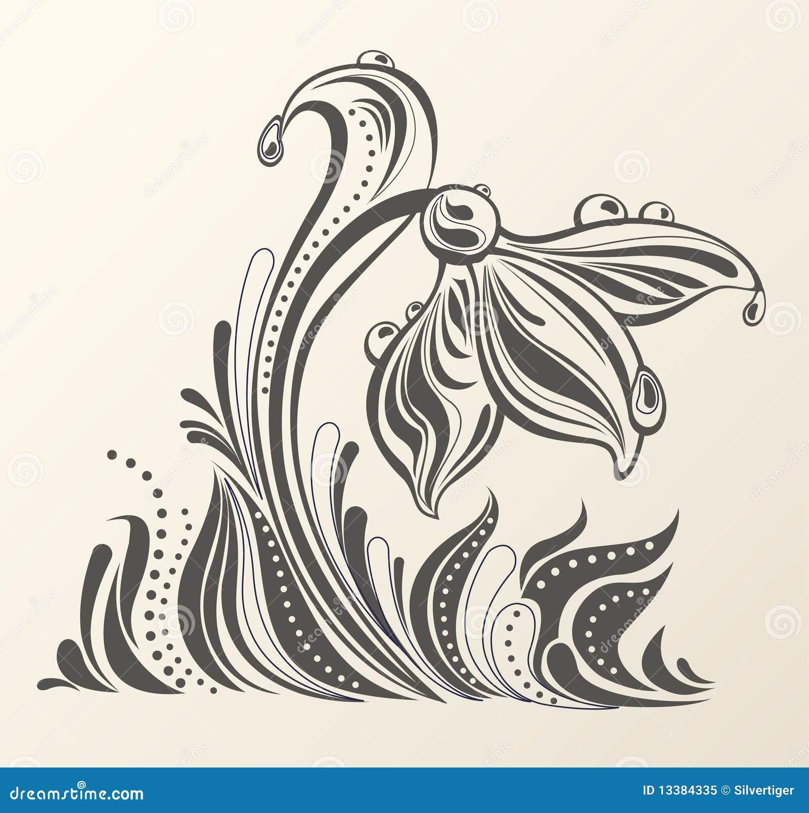 Beau dessin mod le abstrait de fleur photo libre de droits for Dessin graphique noir et blanc