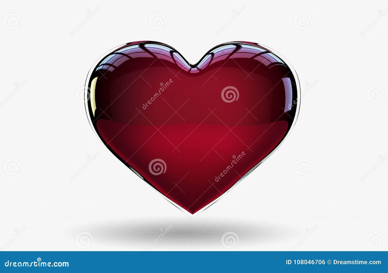 Beau et brillant symbole d isolement d icône de coeur