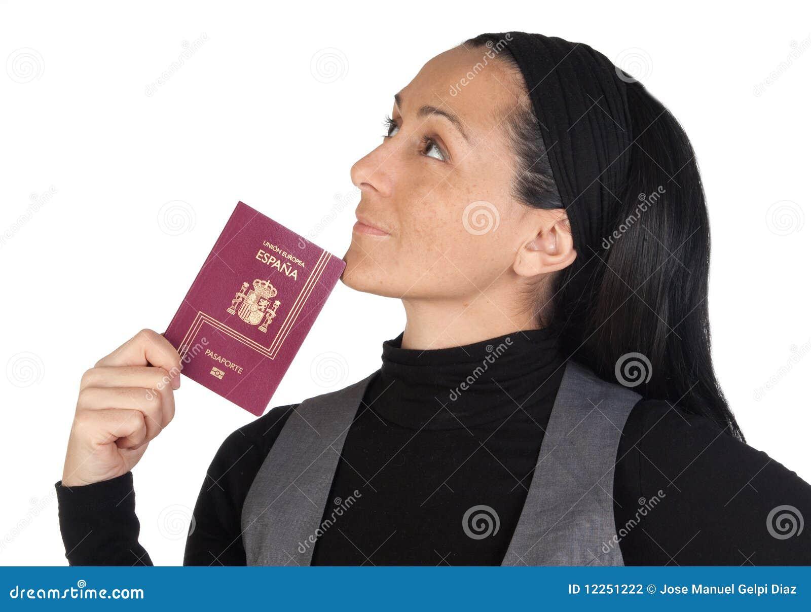 Beau Femme Avec Penser De Passeport Photo stock - Image du ... 4be1c71c4d19