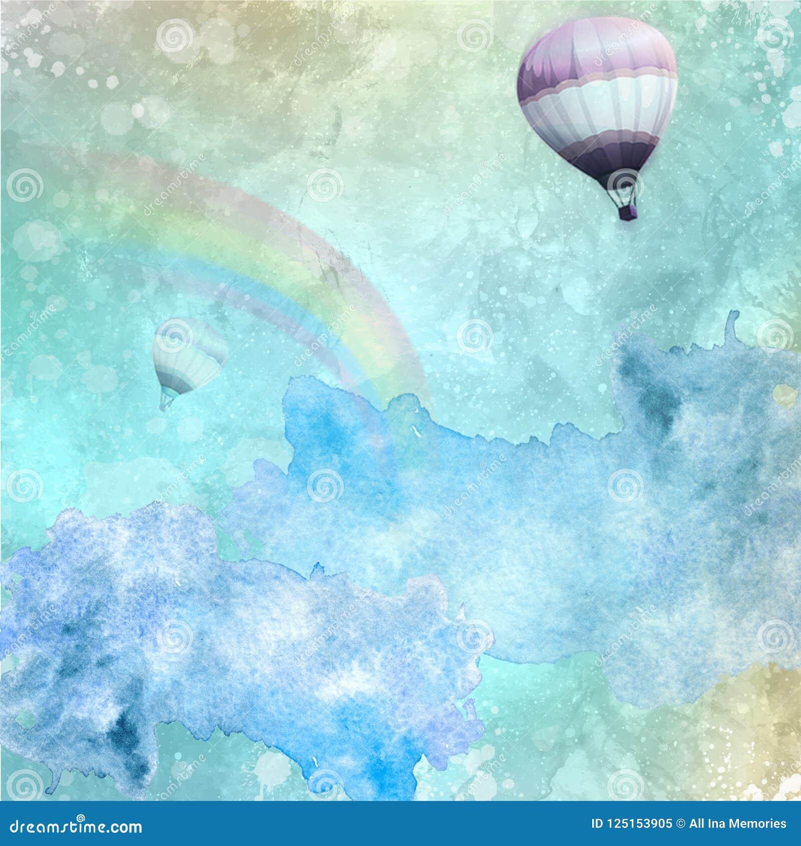 Beau fond d aquarelle avec les éclaboussures, l arc-en-ciel, le ciel clair et les ballons chauds volants