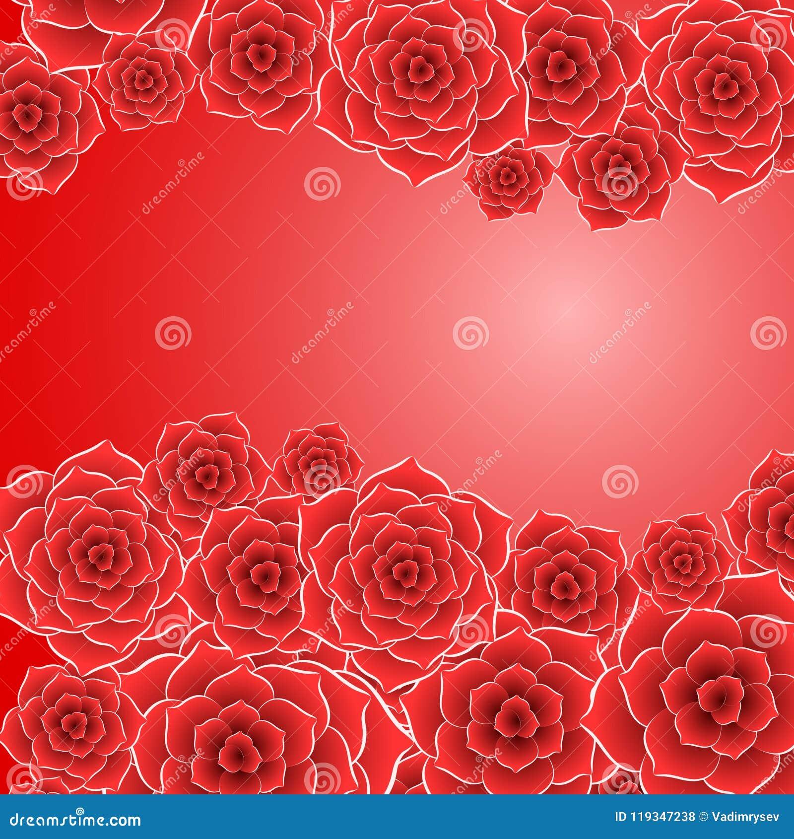 Beau Fond De Fleur De Rose De Rouge Illustration De Vecteur