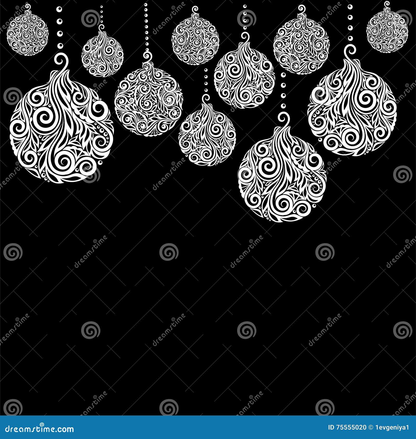 Beau Fond Noir Et Blanc De Noël Avec Accrocher De Boules De